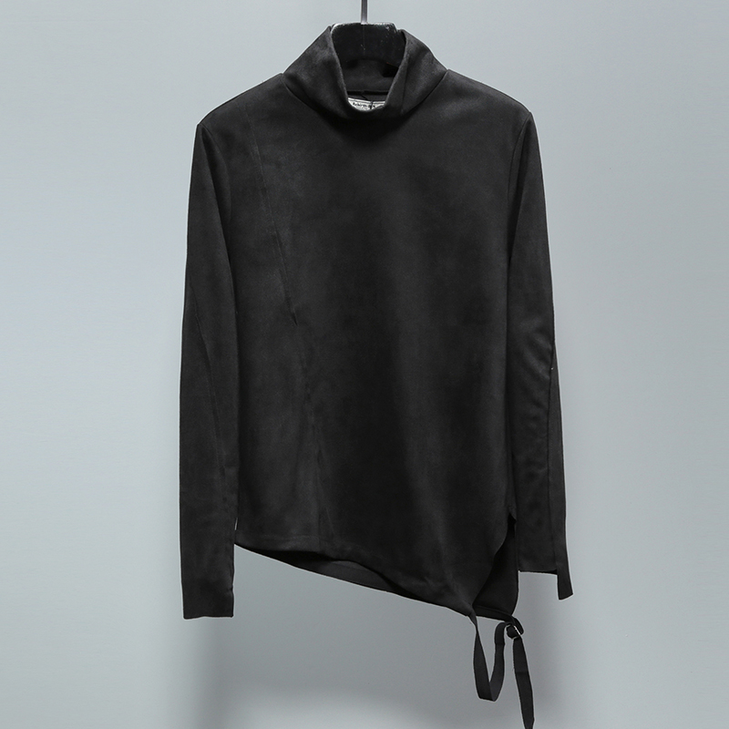 Tailoring Imitation Velvet Leather Long sleeved Slim Shirt High Collar Trend T shirt Stranger Things T Shirt Streetwear Hip Hop - 2