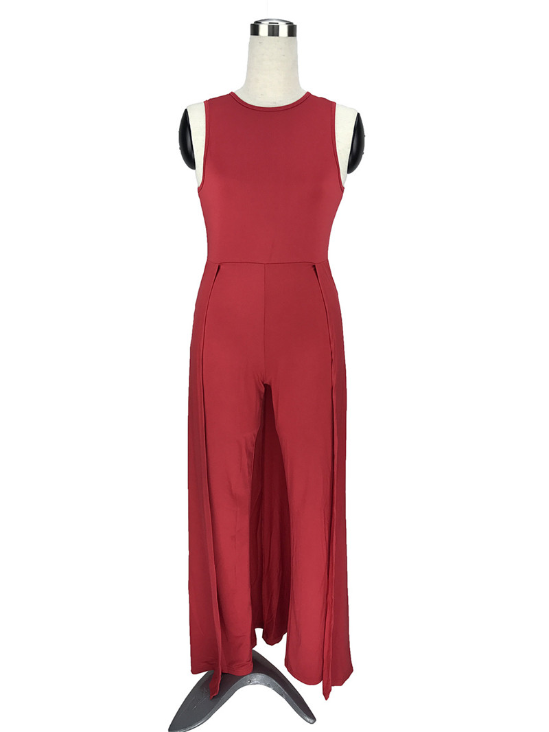 b807ddd3aa3 Wide Leg Jumpsuits for Women 2018 Fashion Summer Sleeveless O Neck Loose  Elegant Evening Party Long Pants Rompers Women Jumpsuit-in Jumpsuits from  Women s ...