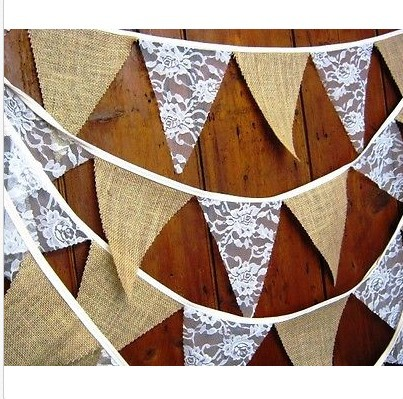 2015 New Year Diy Home Decoration Banner Event Party Supplies Flag Rustic Hessian Garland Lace Bunting Country Wedding Decor