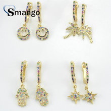 5Pairs, Women Fashion Jewelry,The Rainbow Series,4kind of  Shape Earrings.GoldColors, Can Mix Wholesale