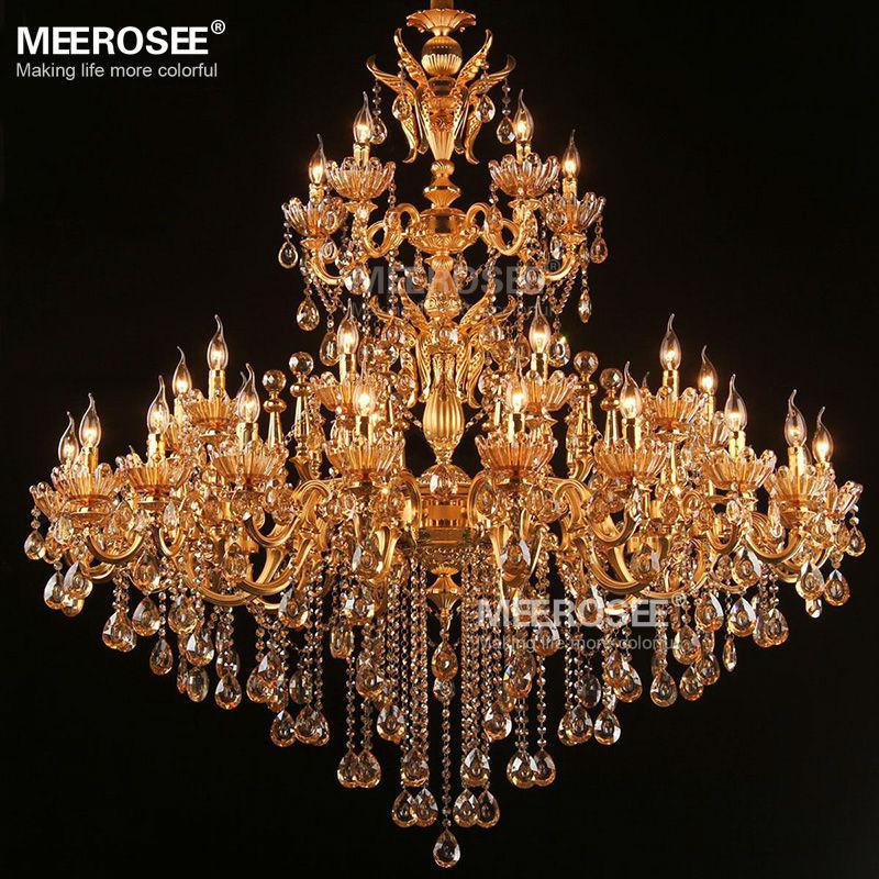 Besar Royal Emas Kristal Chandelier Lampu Pengkilap Cristal Suspensi - Pencahayaan dalam ruangan - Foto 5