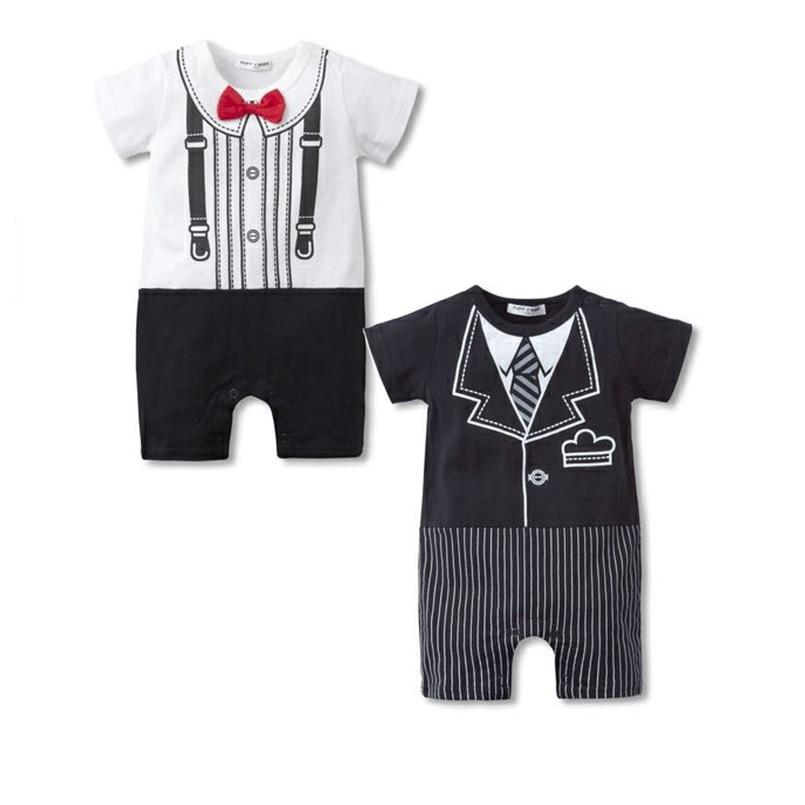 dječak dječak odjeća Tijelo odijela Tuxedo Dječaci Rompers Gentleman roupa de bebe kratki rukav pamučna kombinezon crno bijeli kostimi