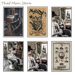 Men's hairstyle Tattoos Patterned Posters White Kraft paper Interior Painting Restoring Wall Sticker Barber Shop Decoration