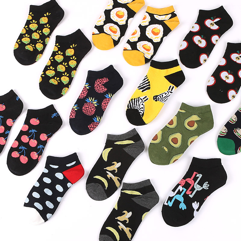 Socks   for women spring summer cotton short   socks   Avocado Fruit Flamingo Food print harajuku cute funny   sock   female meias 2019