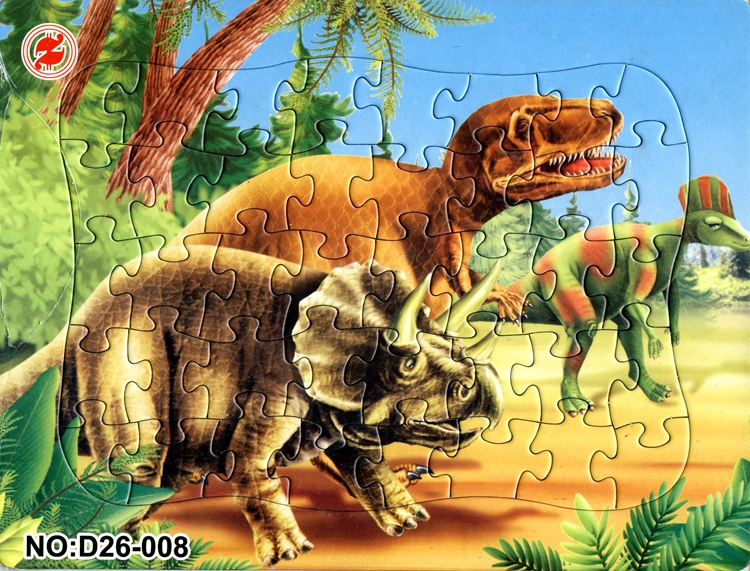 21*28CM 40 Pieces paper The Jurassic dinosaurs 2D puzzle tyrannosaurus  horned dinosaur Jigsaw Puzzle toy