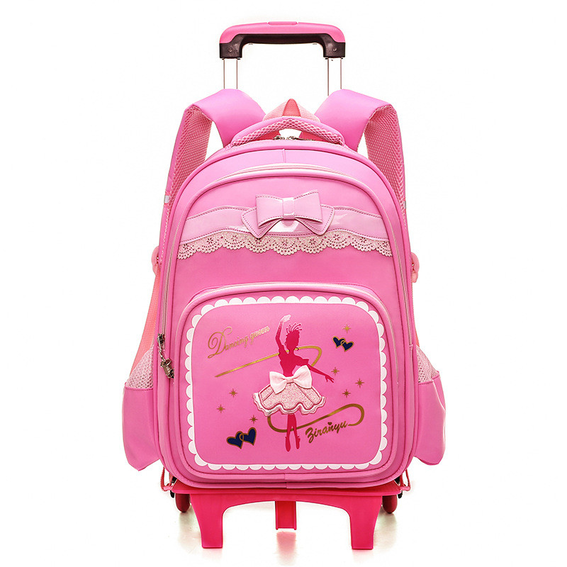 Us 42 8 50 Off Cartoon 2 Or 6 Wheels S Trolley School Bags Backpack Detachable Children Rolling Book Bag Waterproof Travel Mochila In