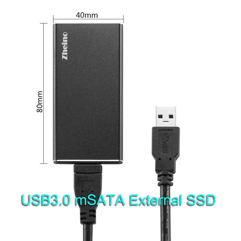 Zheino P3 USB3.0 External SSD 120GB 240GB 480GB 128GB 256GB 512GB Aluminum Case with mSATA Internal Solid State Disk цена