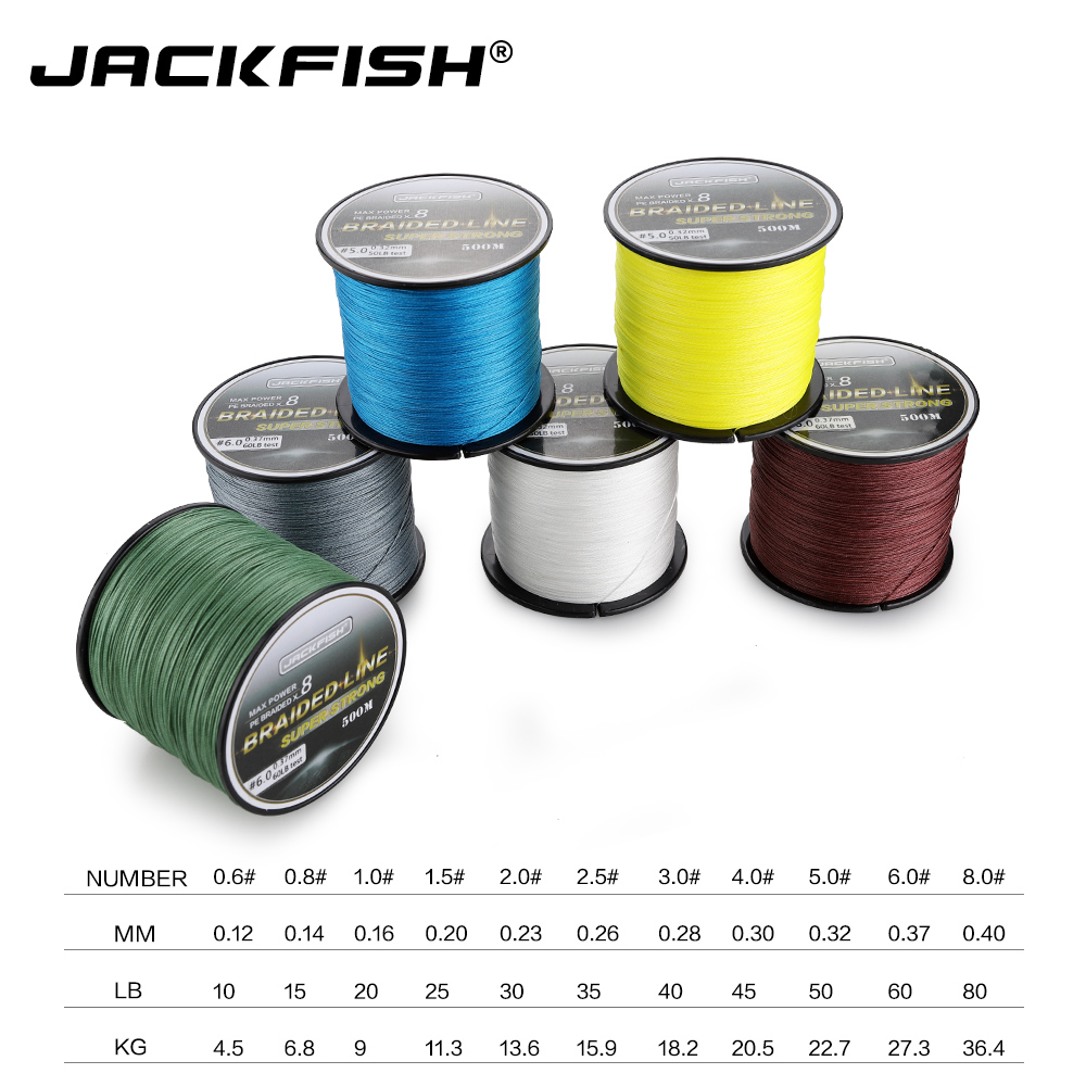 JACKFISH 500M 8 strand Smoother PE Braided Fishing Line 10 80LB Multifilament Fishing Line Carp Fishing Saltwater with gift in Fishing Lines from Sports Entertainment