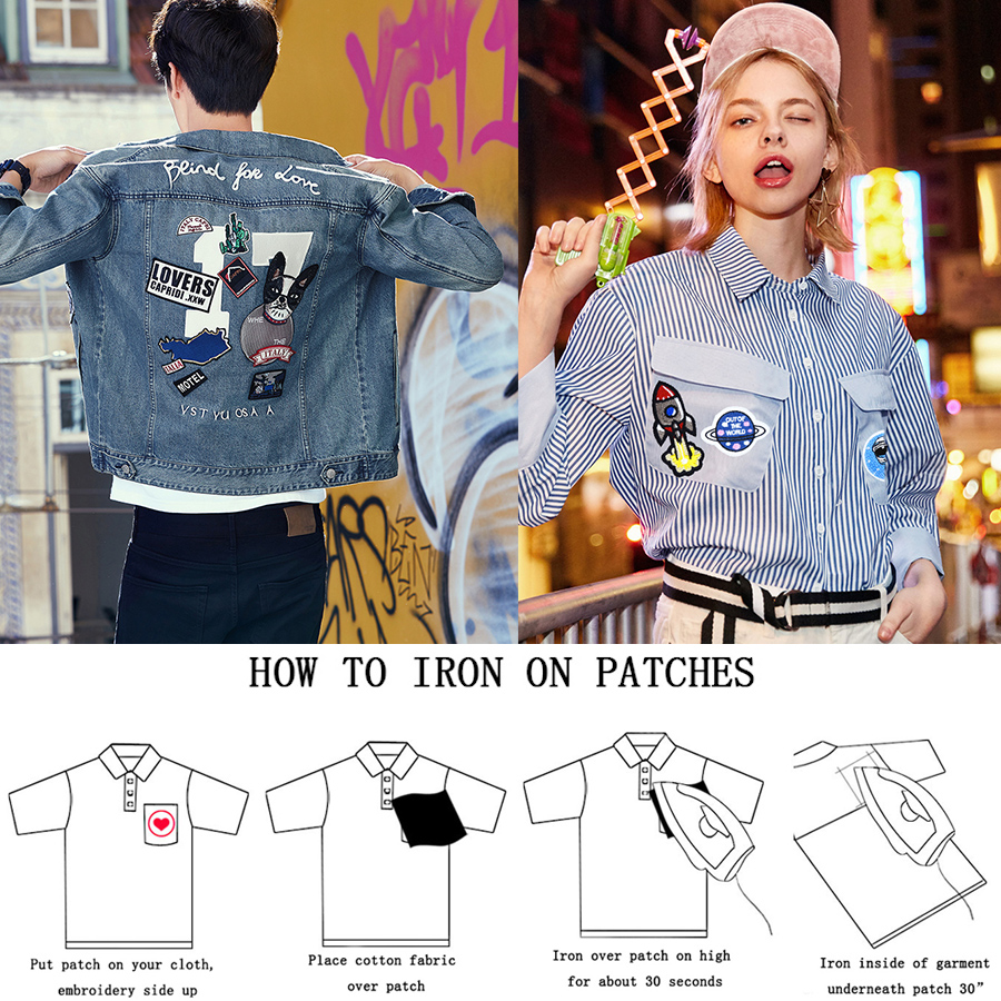 Black Star Embroidered Iron Sew On Patch T Shirt Dress Skirt Jeans Coat Badge