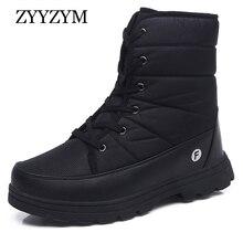 ZYYZYM Men Boots Winter Unisex Cold proof Warming Plush Snow Cotton shoes High-Top Outdoors Zapatos De Hombre