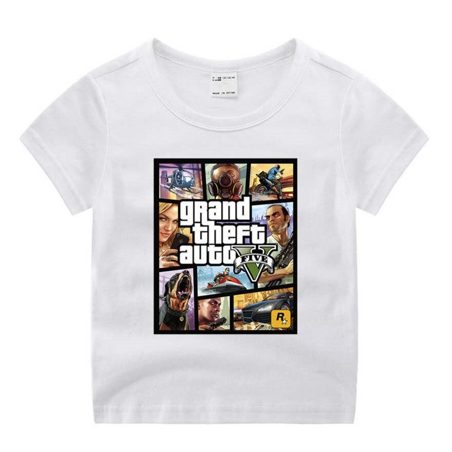 Baby Boy Girl GTA Street Fight  GTA 5 Cute Print Clothes Children Funny T-shirt Round Neck Cotton Children 1-9 Birthday