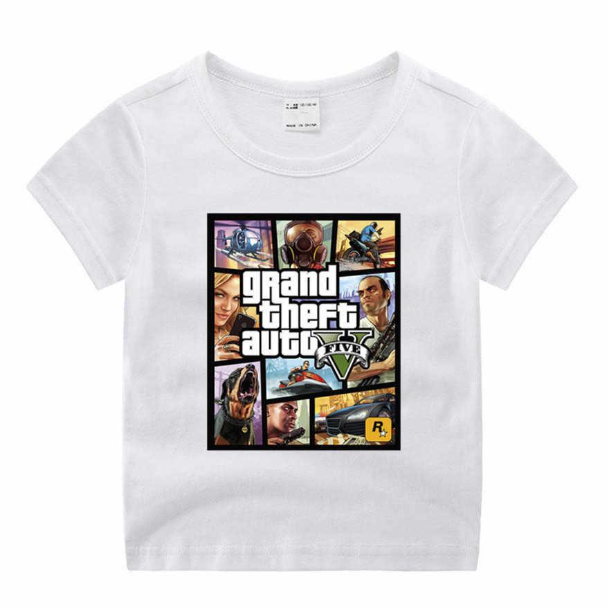 เด็กทารกสาว GTA Street Fight GTA 5 น่ารักพิมพ์เสื้อผ้าเด็กตลกเสื้อยืดคอรอบคอเด็ก 1- 9 วันเกิด