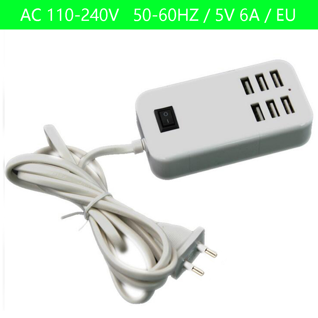EU/ US/ UK Plug Home Travel Charger Wall <font><b>Power</b></font> <font><b>Adapter</b></font> 6 Ports <font><b>USB</b></font> Socket Hub +1 Switch For iPhone/Samsung/HTC/LG/iPod image
