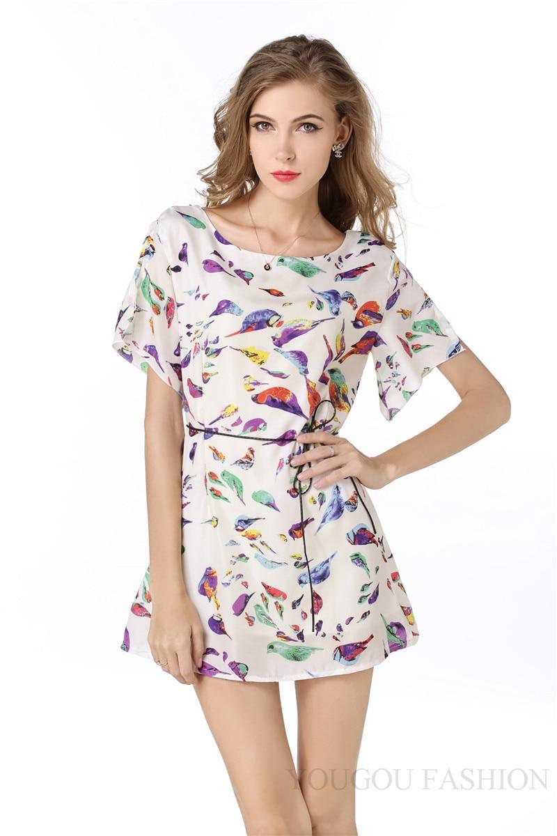 Chiffon Bird Print Cute Fashion Shirt S-XXL Summer Dress Women Dresess vestidos Mini Summer Party Beach Casual SS167 ...