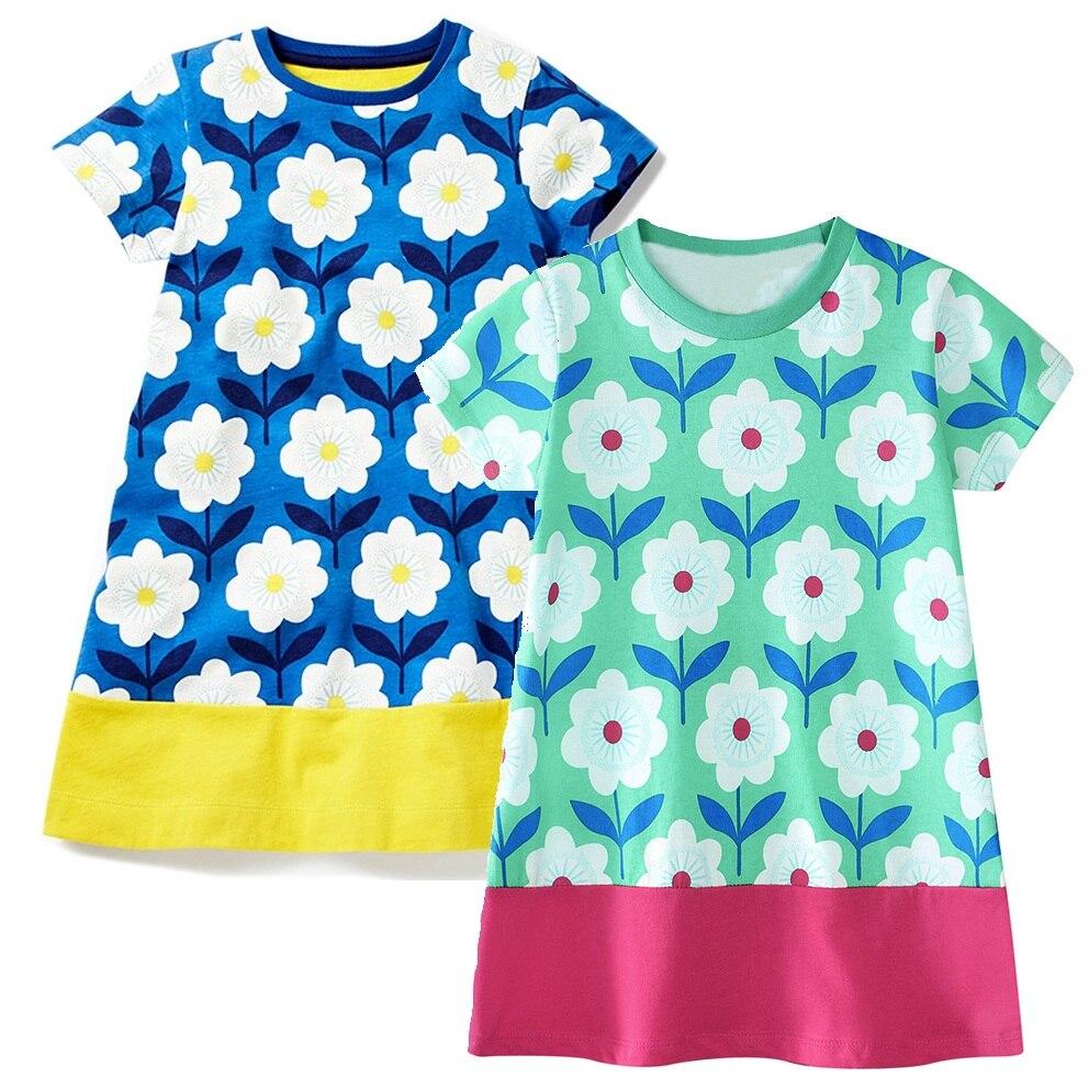 Hooyi Flower Baby Girls Dress 100% Cotton Fashion Children Summer Clothes Short Sleeve Girl Dresses Blouse Kids Vestidos Jumpers