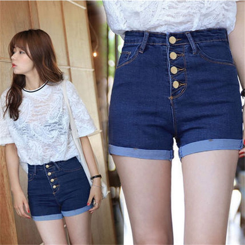 New Summer 2016 Women High waist denim Shorts ladies Slim bottoms casual Bule Plus Size feminino Casual Short jeans S2075