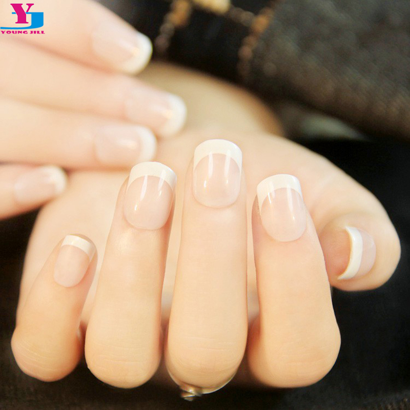 24pcs fashion french style office false nail art tips with glue fake 24pcs lady womens french style diy manicure art tips false fake artificial nails acrylic nail tip solutioingenieria Image collections
