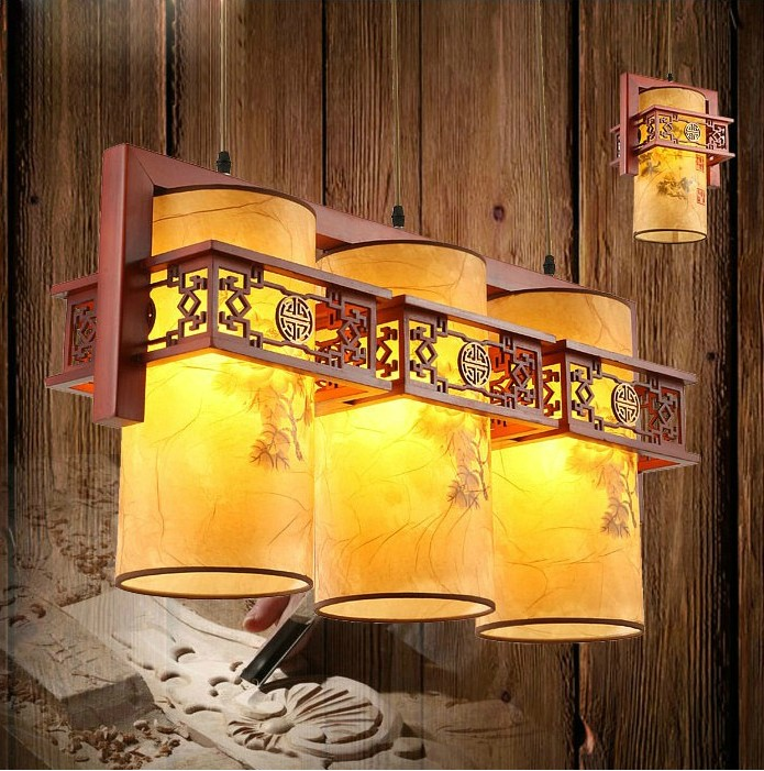 Chinese style Wooden 1/2/3 heads lamps Chinese restaurant new classical restaurant chandelier wooden sheepskin ZS40 chinese style antique wooden sheepskin chandelier lamp three classical teahouse atmosphere restaurant head send bless