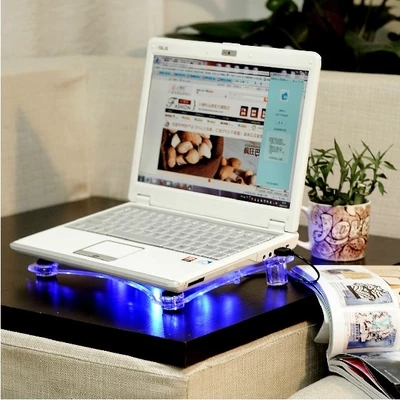 USB Notebook Cooler Cooling laptop Pads 3 Fans for Laptop PC Base Computer Cooling Pad with blue LED light ...