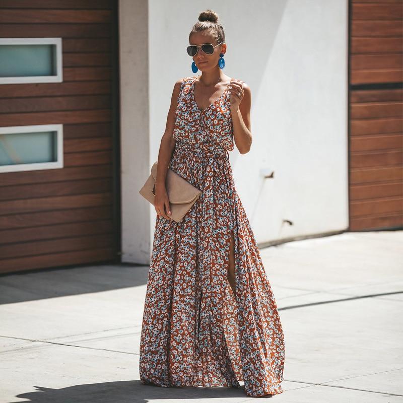 Dress Women Vintage Floral Printed Summer Dress Sleeveless V-neck Plus Size Split Maix Dress Women Dresses for Vacation 2019 New