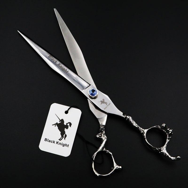8 pouces professionnel ciseaux à cheveux pour animaux de compagnie coiffeur chien toilettage coupe ciseaux rouge et bleu gemmes personnalité tête de Dragon poignée