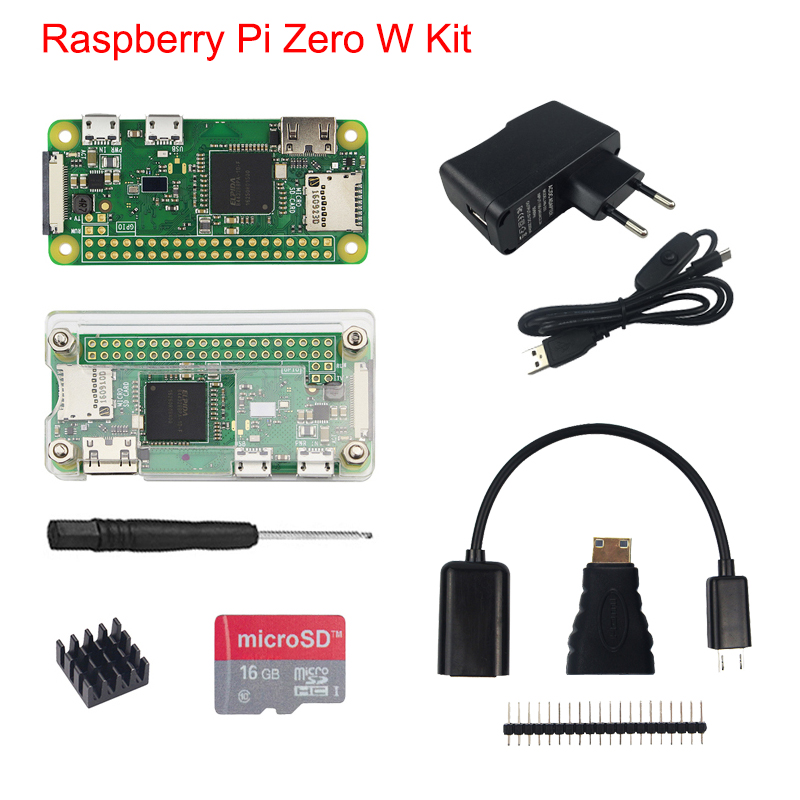 Raspberry Pi Zero W Kit + Acrylic Case + 5MP Camera + Micro OTG Cable + GPIO Header + Mini HDMI Adapter +16G SD Card + USB Cable audio video hdmi cables male to male female adapter micro usb to usb cable wire male header gpio pins for raspberry pi zero kit
