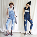 Personality loose denim bib pants spaghetti strap jumpsuit trousers for women holes jeans overalls Free shipping