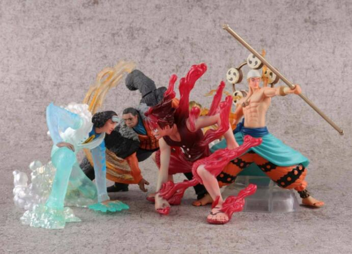 4pieces One piece luffy Kuzan Enel Crocodile Anime Action Figure PVC New Collection figures toys Collection for Christmas gift new hot 12cm one piece boa hancock monkey d luffy modelling action figure toys collection doll christmas gift with box