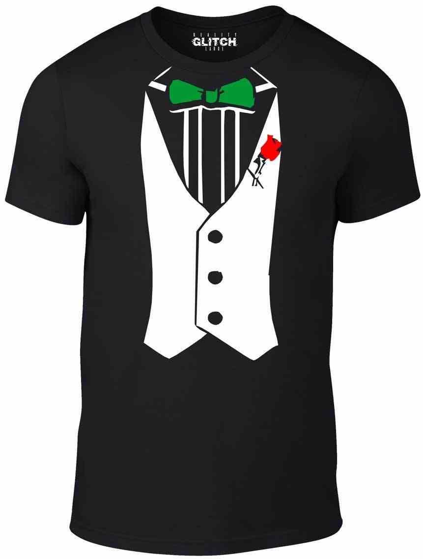 Camisa do smoking-Funny t-shirt comic fancy dress partido retro inteligente camisa Gravata borboleta Mais Novo Top Tees, moda Estilo Homens Tee