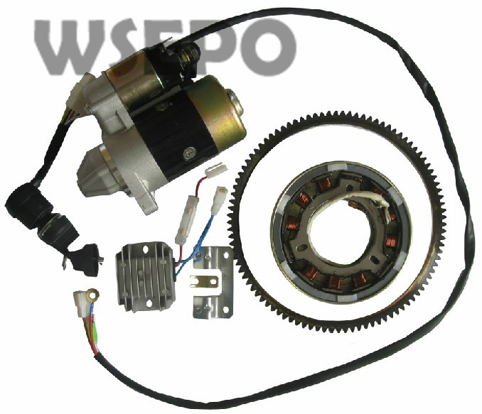 Chongqing Quality! Electric Start Rebuild Kit(incl. start motor/regulator/ring etc) for 186F L100 9HP Air Cooled Diesel Engine 40hp electric start kit for yamaha e40