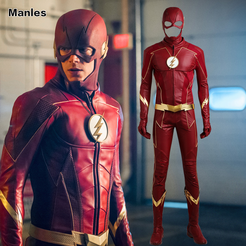 The Flash Season 4 Cosplay Barry Allen Costume Superhero Outfit New Year Clothes Halloween Suit With Boots Adult Men Custom Made