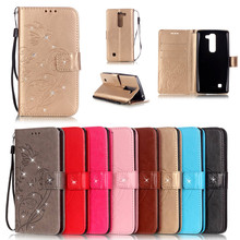 Luxury Diamond Book Style PU Leather Flip Butterfly Case Cover For LG G4C G4 mini LG Magna H502f H500F C90 Phone Bags+Strap lg g4c