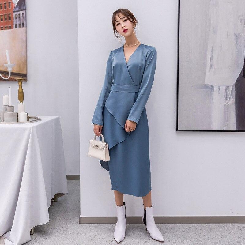 longueur V De neck Casual Solide xitao Genou Femmes Corée 2018 Robe Couleur See Manches Hiver New Lyh2130 Asymétrique Pleine Picture Mode FwZngq