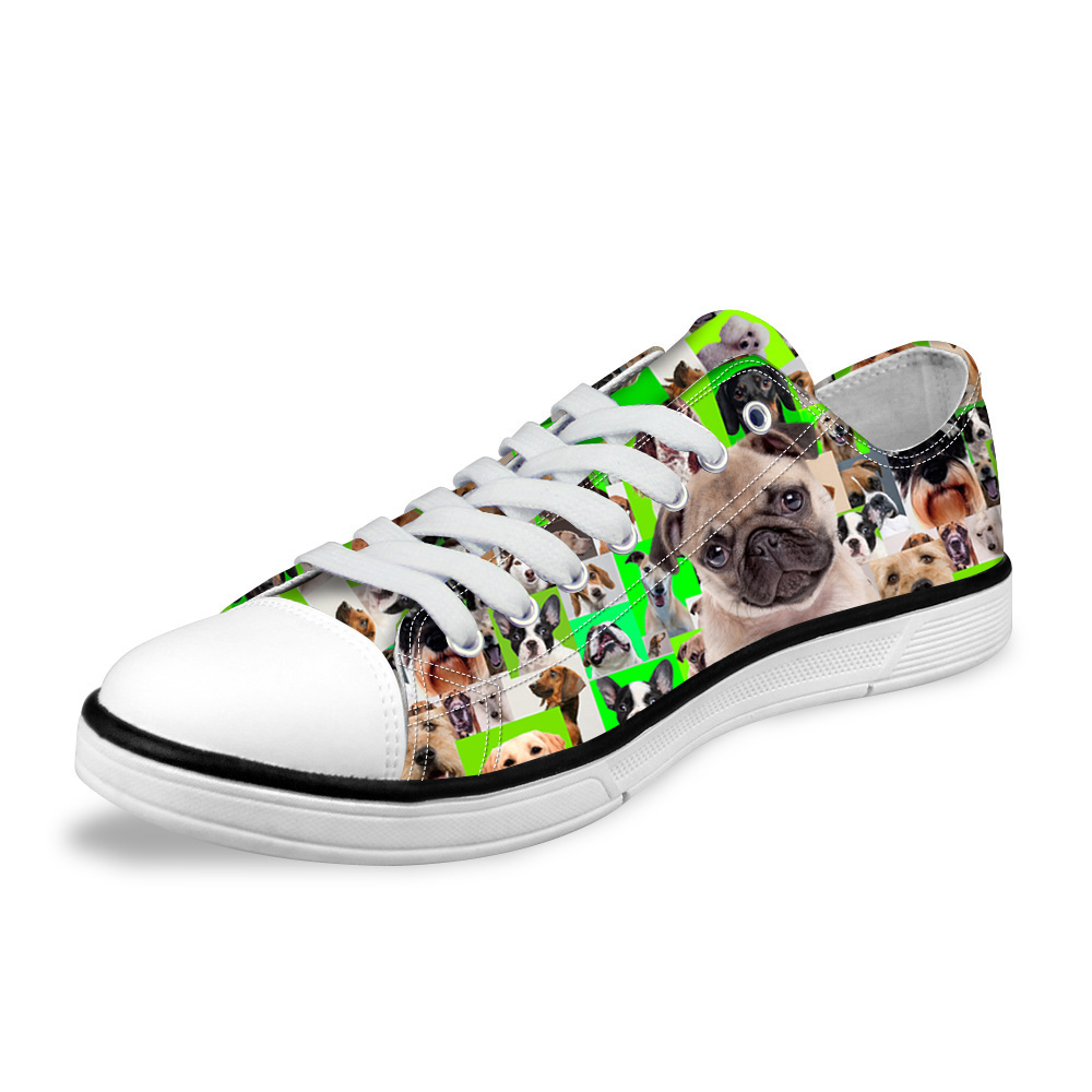 NOISYDESIGNS 3D Pug Puzzle print Casual Canvas Shoes Spring Leisure Vulcanize Shoes Mens Trend Low Sneaker Shoes for Male Man