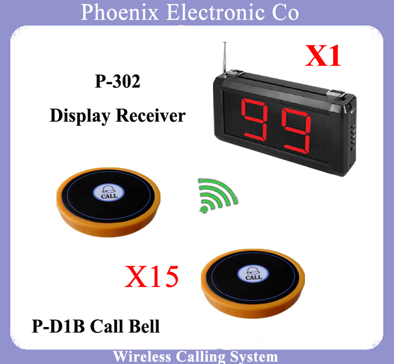 Wireless Pager Service Calling System For Restaurant Salon Beauty Table 1 pcs Waitress Screen and  15 pcs Electronic Call Bell  wireless pager service restaurant cafe restaurant bell call room w999218 wireless pager