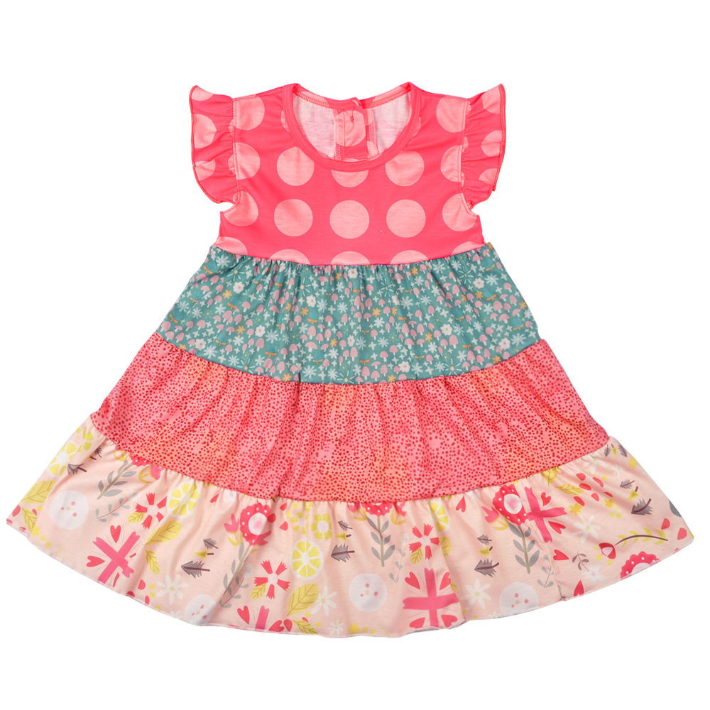 Latest Style Children Spring Summer Clothing Cotton Dresses Boutique Baby Girls Polka Dot Print Girl Dress LYQ712-019 ladybird appliques dress wholesale clothing for girls princess baby boutique o neck clothes children polka dot dresses 6pcs lot