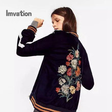Imvation Velvet Women Basic Coats Bomber Jackets Coat Women Flight Suit Casual Chaquetas Mujer Embroidered Patches Women Brand