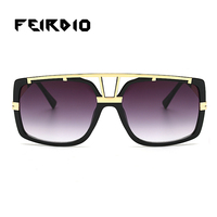 Feirdio Dropshipping Female Men Sun Glass Metal Design Silve Coating Sunglasses Retro Club Oculos Plain Mirror Reflective Driver