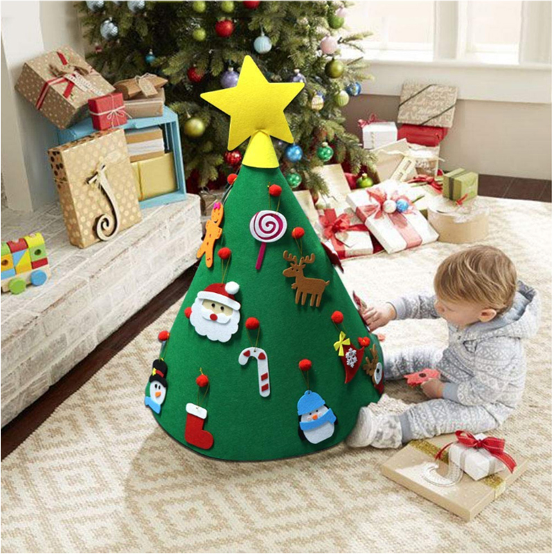 2019 New3D DIY Felt Toddler Christmas Tree New Year Kids Gifts Toys Artificial Tree Xmas Home Decoration Hanging Ornaments