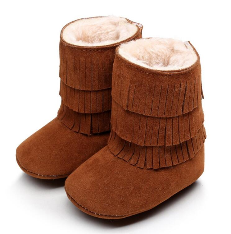 Fashion tassels toddler Baby super warm winter snow boot PU Suede Leather with fur Shoes first walker baby Moccasins Boots