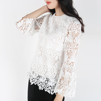 Lonely static said Light luxury Spanish famous brand ~ palace sleeve water soluble lace tops 18032737. Price