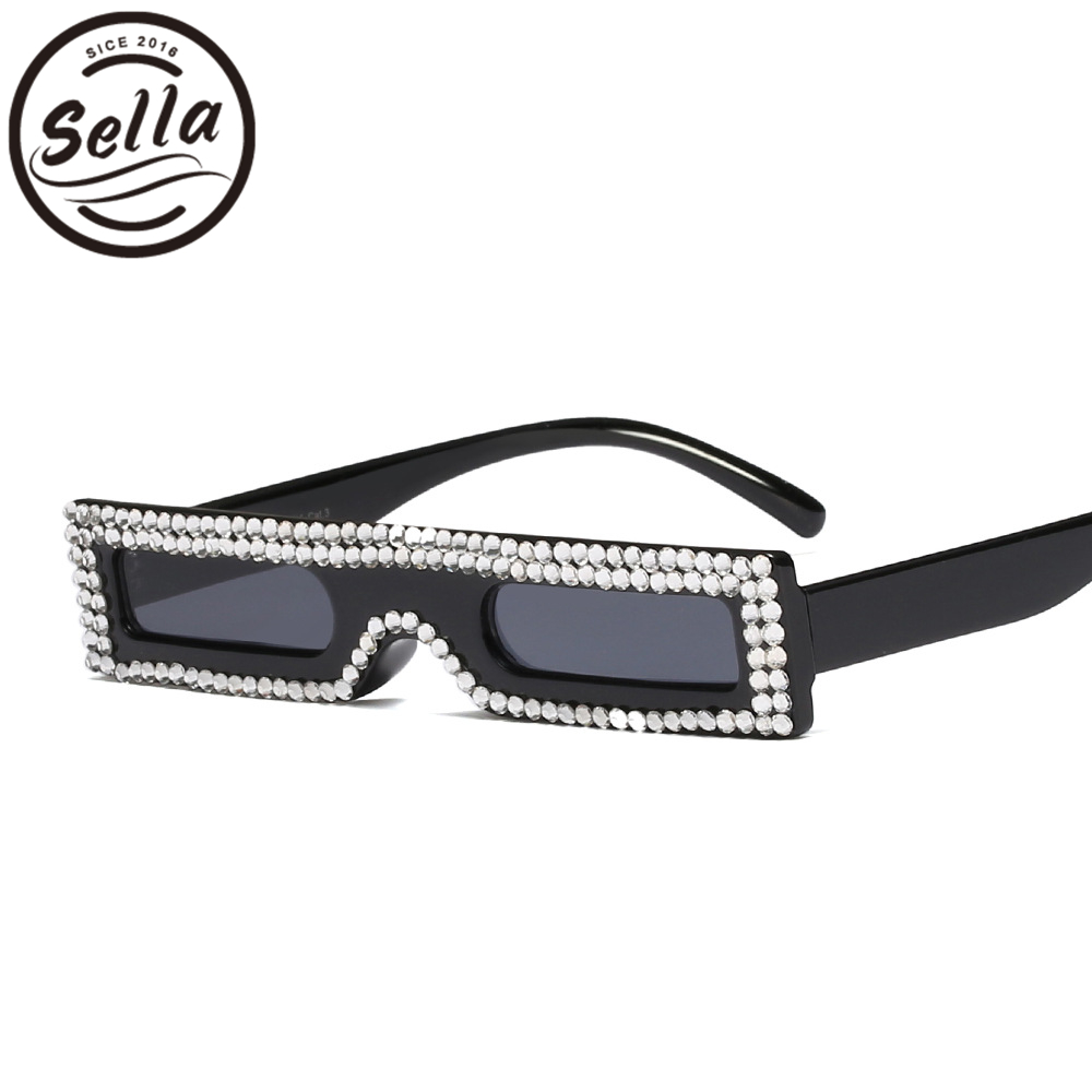 Sella Venta caliente estilo europeo pequeño estrecho marco mujeres gafas de sol de lujo acrílico cristal decoración señoras único cuadrado gafas