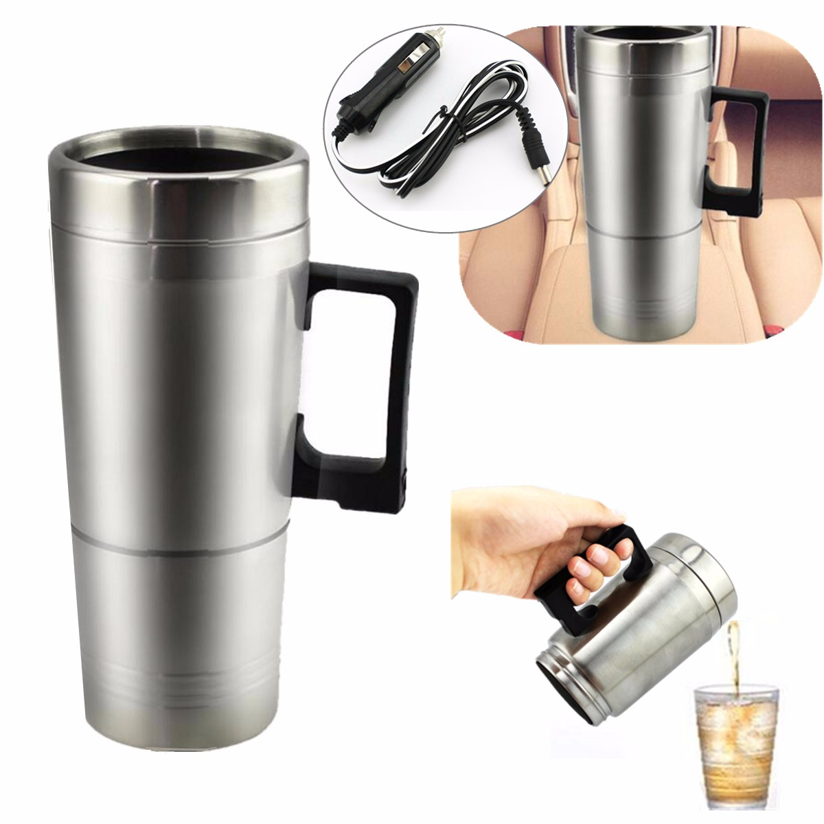 12v Car Heating Stainless Steel Cup Water Bottle Water Tea