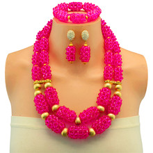 African Beads Jewelry Set For Women Wedding Bridal Bridesmaid Gift Jewellery Set Costume Statement Choker Necklace(China)