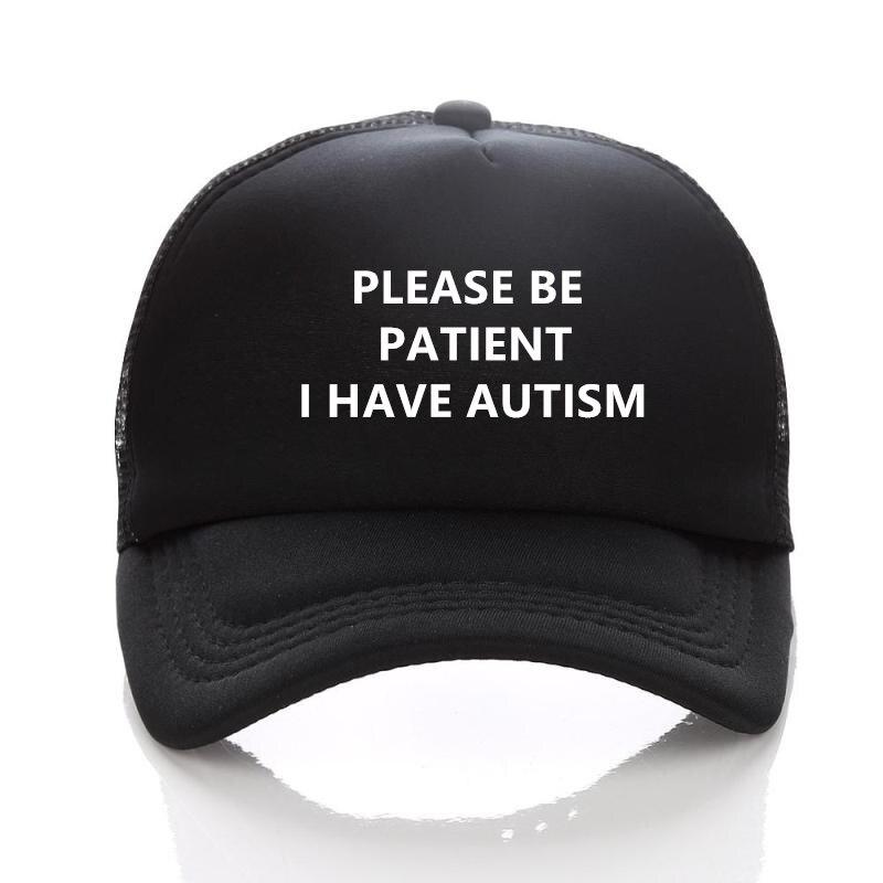 2018 Women'S   Cap   Wees Geduldig Ik Hebben Autisme Brief Gedrukt Unisex   Baseball     Caps   Men'S Zomer Mesh Netto Trucker Hoed