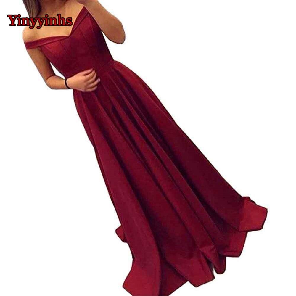 Élégant une ligne chérie longue Robe De soirée Satin pas cher rouge robes De bal Robe De soirée hors De l'épaule Robe De soirée CG60