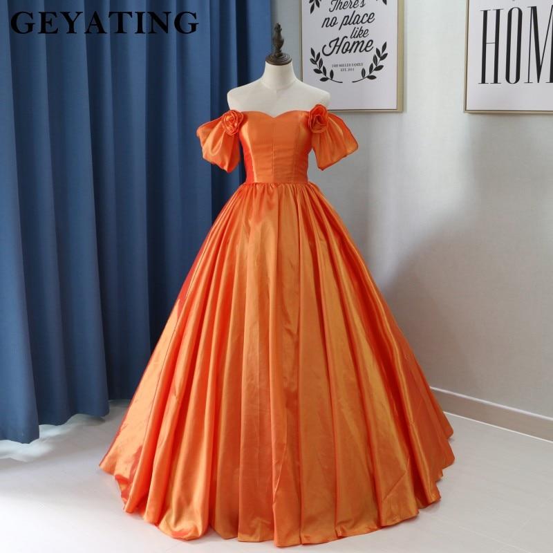 Orange Prom Dresses with Corset Back