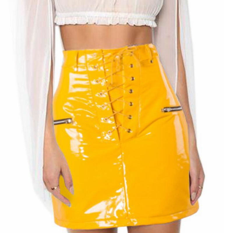 New Style 2018 Good Quality Gold Black PU Faux Leather Skirt Sexy Lace Up Zipper Fashion Women Casual Sexy Celebrity Skirts