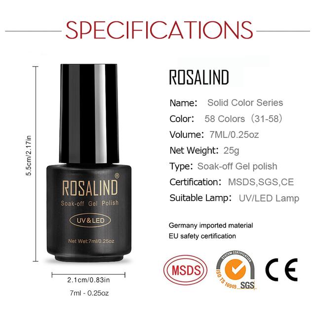 ROSALIND UV gel polish Semi Permanent Hybrid Gellak Set For Nail Manicure Soak off Top Coat White Gel varnishes