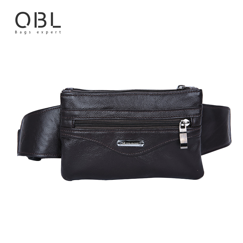 Qibolu Cow Genuine Leather Men Waist Pack Fanny Pack Bum Bag Man Hands-free Bags Travel Pochete Bolso Cintura Homme Borsa MBA21